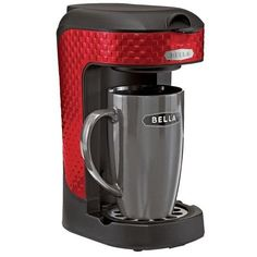 Bella One Scoop One Cup Single Serve Coffee Maker with Mug  Red 3D Square *** Continue to the product at the image link.Note:It is affiliate link to Amazon.