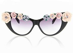 Fashion personality polymer clay flower cat eye sunglasses