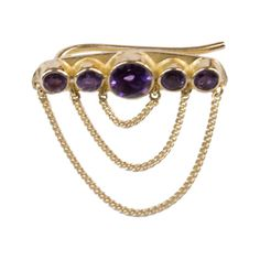 Gold Plated Janis Earpiece..amethyst gemstone