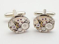 Steampunk Cufflinks petite oval vintage silver watch movements gears wedding mens cuff links  formal wear jewelry by Steampunk Nation 1584 #steampunkcufflinks #steampunkjewelry #weddingjewelry