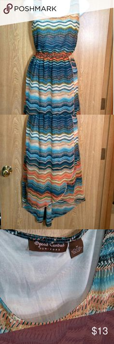 Speed Control - High low blue & orange dress Features an empire waist an asymmetrical hem Sweet Storm Dresses High Low