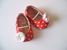 VIVI baby girl shoes. Red and white polka dot by HarperDaisy, $27.95