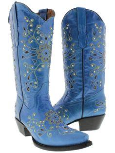 Womens Blue Python Inlay Rhinestone Western Leather Cowboy Boots Rodeo Cowgirl #CowboyProfessional #CowboyWestern #Casual