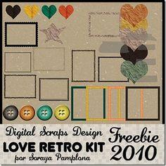 Love Retro Kit #scrapbooking #digitalscrap #freebies