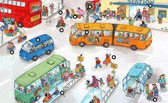 Praatplaat thema verkeer: 'Het busstation'. Via www.juf-lisanne.nl