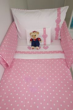 A baby girl's best friend is our gorgeous hearts in pink bedding set. Made with Egyptian cotton 400T white sheeting and the finest 100% cotton colored fabrics, this bedding is a favorite amongst our parents. This bedding set comes with a quilt, flat sheet, fitted sheet, standard pillow cover, baby pillow cover & a cot bumper cover.