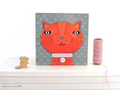Sparkly #Orange Tabby Cat Wall Art Panel  Baby by WalterSilva