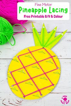 This Lacing Pineapple Craft is great for growing fine motor skills. A fun Summer threading craft for kids. Free printable pineapple template colour and b/w. Summer Crafts For Kids, Crafts For Teens, Summer Kids, Craft Activities, Preschool Crafts, Motor Activities, Printable Crafts, Free Printable, Printables