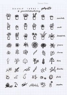 """journalsanctuary: """"Doodle ideas 1 - plants Remember when I asked you what should I do with the remaining pages of my bujo? Well, the most suggested thing was to do some doodle ideas, which I did, yaay :D. Now I know a lot of people have done these,..."""