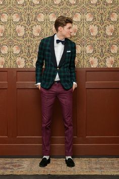 GANT Rugger Holiday 2012 collection—plaid green jacket, maroon trousers, and black bow tie.