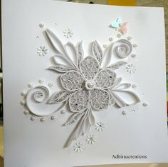 365 Cards: Day 148 - Micro-Managed.  White on White quilling.  Beautiful card.