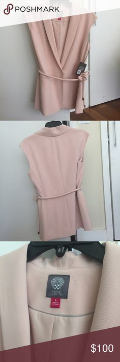 🆕 Vince Camino Sleeveless Blazer New with tag. Vince Camuto Sleeveless Belted Blazer. Blazer vest. Color: Moonbeam Vince Camuto Jackets & Coats Blazers