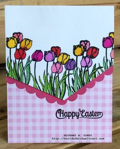 Used Flower Set 1 and Easter Set 1 from Anthony's Paper Craft and Edgers Confetti Cuts dies from Reverse Confetti to make this Easter Card.