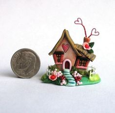 Miniature Love Shack Whimsical Fairy Valentine Cottage OOAK C Rohal: