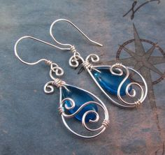 Blue Teardrop Earrings - Wire Wrap Dangle - Elven Jewelry - Silver and Capri Blue Glass