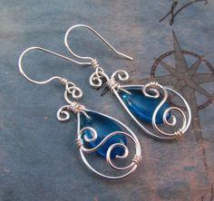 Blue Teardrop Earrings - Wire Wrap Dangle - Elven Jewelry - Silver and Capri Blue Glass