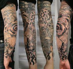 forearm sleeve tattoo designs | New School ArmSleeve Ready TaT by 2Face-Tattoo on deviantART