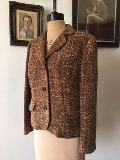 a6f63593ff6 UK SIZE 16 WOMENS PER UNA M S BROWN GOLD TWEED WOOL MIX FITTED JACKET