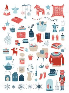 holiday Design illustration - Nordic, Scandinavian winter elements and Hygge concept design, Merry.