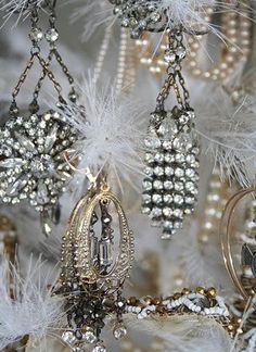 rhineston, tree decorations, costume jewelry, chandelier earrings, old jewelry