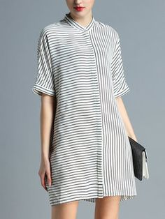 Casual H-line Half Sleeve Shirt Dress