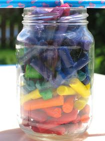 Crayon Candle-- peel papers off all your old crayons, break in small pieces. Put crayons in rainbow order in jar, carefully dangle wick in jar. Tie top end of wick on pencil to hold it taut. Put in sun to melt the wax. It took about 5 hrs in hot sun to get mostly melted. Put it on top of sheet of tin foil to help hasten the melting. It worked