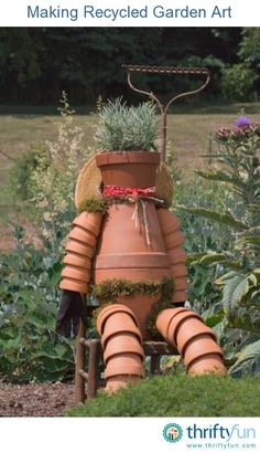 This guide is about making recycled garden art. There are many things that can be reused to create interesting art for the garden. @ DIY Home Ideas