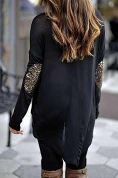 Sparkly elbow patches! This top is at Envy Girl Boutique for $35 www.ShopEnvyGirl.com