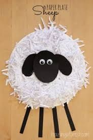 sheep paper plate craft - shreaded paper