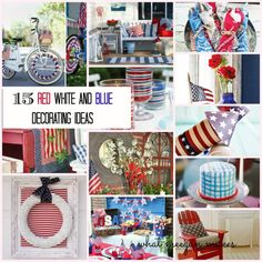 I've got the Monday blues with 15 red white and blue decorations!!  Can you believe how soon June will be over??  Me, either!  July 4th will be here in just a few short weeks!  Actually, it is one of my favorite holidays.  That's why I am so excited to share these 15 amazing red white and blue decorations with you!