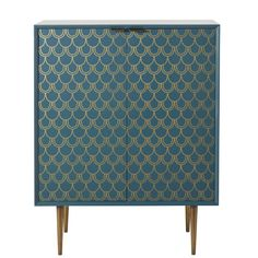 Turquoise Blue Sideboard with Gold Graphic Print Barracuda Teen Furniture, Hallway Furniture, Small Furniture, Cabinet Furniture, Dining Room Furniture, Living Room Chairs, Sun Lounger Cushions, Decorative Storage Boxes, Bleu Turquoise