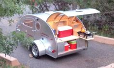 """the Vistabule trailer.  Handmade in Minneapolis.  got to visit the """"factory"""".  Very groovy little camper."""