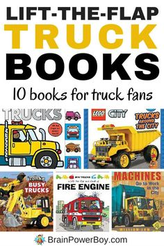 Interactive books add some hands-on play to reading time. These lift-the-flap truck books are incredible and very engaging. 10 books to keep your truck fan happy. Click the image to see them all.