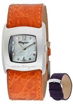 Salvatore Ferragamo F51SBQ9991-S165.1 Watches,Women's White MOP Dial Orange Genuine Crocodile, Women's Salvatore Ferragamo Quartz Watches