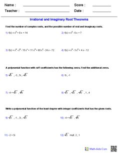 Irrational and Imaginary Root Theorems Worksheets