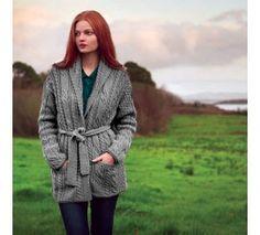 Carraig Donn Ladies 100% Merino Wool Shawl Belted Cardigan Grey