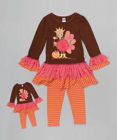 Brown & Orange Turkey Tunic Set & Doll Outfit - Toddler & Girls by Dollie & Me #zulily #zulilyfinds