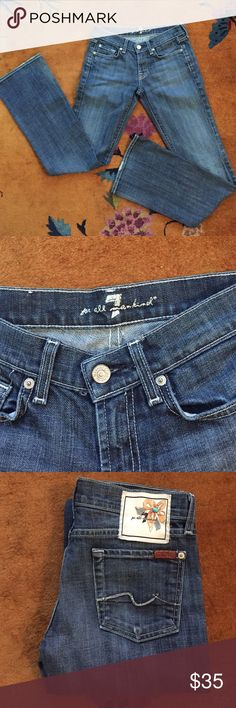 """7 For All Mankind lowrise boot cut jeans  25 Worn a couple of times, no flaws. Pretty back design. 28"""" inseam 7 For All Mankind Jeans Boot Cut"""