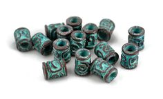 6 Mykonos Spiral Barrel Tube  Green Patina  by createyourbliss, $5.99