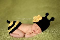 Bee Hat and Tushy Topper  Newborn by BeautifulEweDesigns on Etsy, $30.00