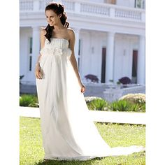 Sheath/ Column Strapless Court Train Chiffon Wedding Dress With 3D Flora – USD $ 199.99