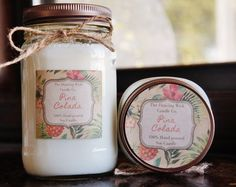 Pina Colada Pure Soy Candle //Large Pint 16 oz.// Half Pint 8 oz candle//Mason Jar Candle//Hand Poured//Tropical Candle