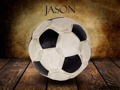 Soccer Ball Vintage Warmth on Wood Table Vintage Background Personalized Sports Art Print