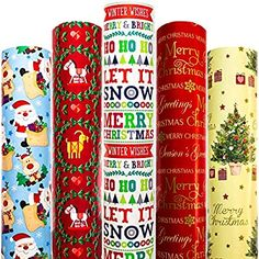 Amazon.com: Christmas Wrapping Paper White Red Green with Pattern 5 Roll 30 Inch x 10 Feet Per Roll Xmas Tree Holiday Elf Hanukkah Deer Santa Snowmen Snowflakes Bird Snow: Health & Personal Care Xmas Wrapping Paper, Christmas Gift Wrapping, Creative Gift Wrapping, Creative Gifts, Red And Blue, Blue Yellow, Red Green, American Greetings, Xmas Holidays