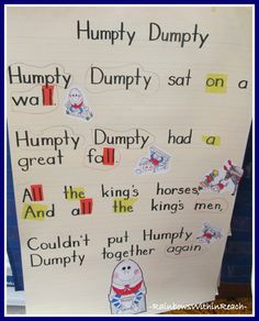 Anchor Chart for Humpty Dumpty (from Kindergarten)