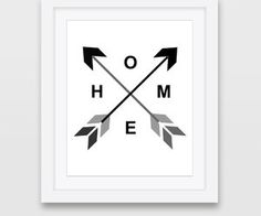 Home Art Black Gray Art Print Geometric Arrows by Stop4Design