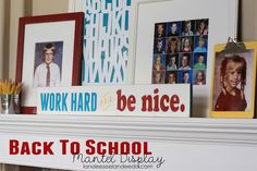 Back To School Mantel Display DIY with free printable  - landeelu.com