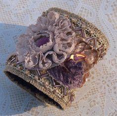 Rustic Burlap Meets Victorian Style Embellished ❤ by lesjardinsdevie, $110.00