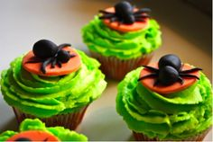 Cupcakes d'Halloween au Mascarpone et pâte à sucre noir et orange !