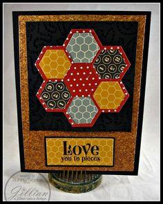 handmade quilt card featuring Grandma's Garden Quilt Block Die ... deep earthy tones ...